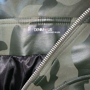 FashionNova Off the Shoulder Camo Leather Jacket